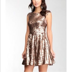 Bebe Gold Sequins Club Fit n Flare Dress XS